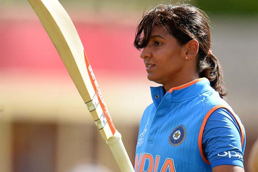 Harmanpreet Kaur of India walks off after scoring 171 not out during the ICC Women's World Cup 2017 match between Australia and India