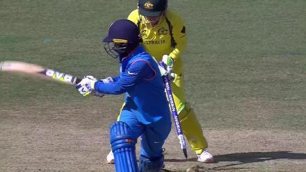 WICKET: Deepti Sharma is bowled by Elyse Villani