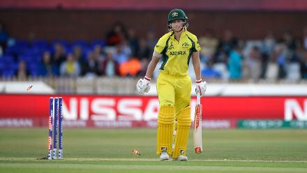 Meg Lanning was then bowled by a peach of a delivery by Jhulan Goswami  for a duck as Australia slid further