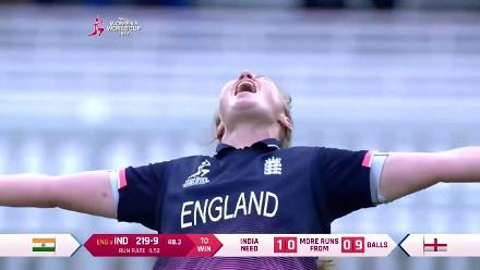 Nissan POTD - Anya Shrubsole picks up the last wicket that gives England the title