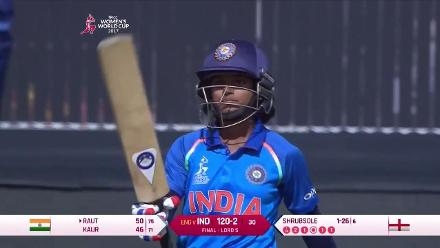 FIFTY: Punam Raut leads the chase with a half-century in 75 deliveries