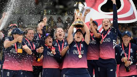 England celebrate after winning the ICC Women's World Cup 2017