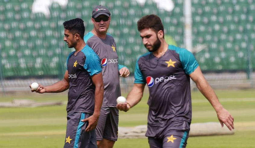 Pakistan players practice ahead of their clash against the World XI