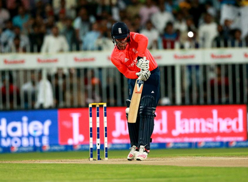 Jason Roy departs for a golden duck, trapped lbw by Aamer Yamin in Sharjah