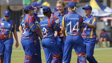 Namibia celebrate against Tanzania