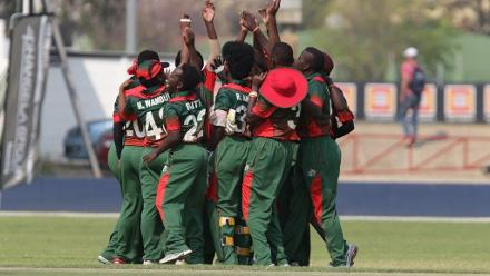 Kenya celebrate a wicket against Uganda