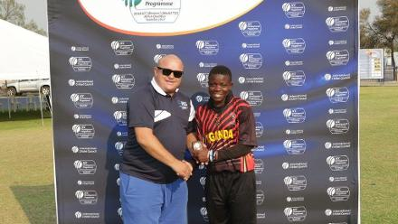 Immaculate Nakisuuyi receives the player of match award from Boeta Machess