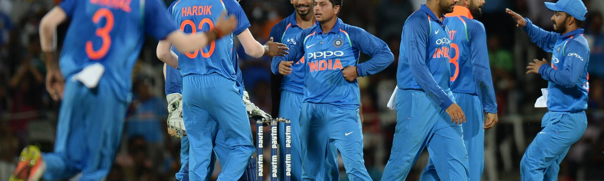 Kuldeep Yadav struck twice and finished with 2 for 33 to dent Australia's innings.