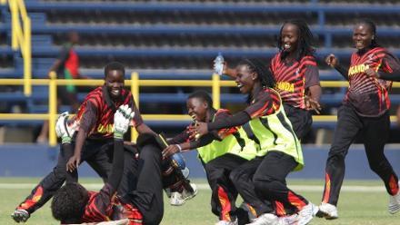 Uganda celebrate after qualifying