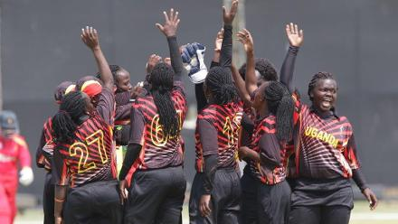 Uganda celebrate a wicket