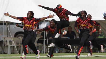 Uganda celebrate after beating Zimbabwe