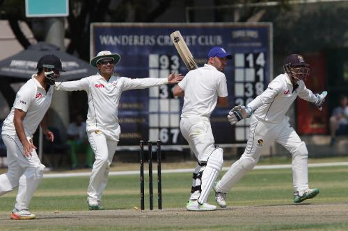 UAE players celebrate after Namibias Jan Frylinck is bowled by Imran Haider on the second day of their ICup match in Windhoek on Sunday 17 September 2017. © ICC/Helge Schutz