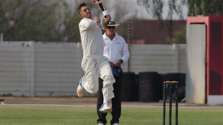JJ Smit in action for Namibia against UAE. Nam v UAE Day 1. © ICC/Helge Schutz