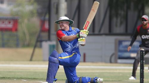Craig Williams of Namibia hits a four against UAE during its WCL match in Windhoek