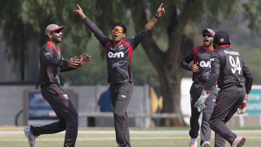 Imran Haider celebrates a wicket for UAE against Namibia during its WCL match in Windhoek