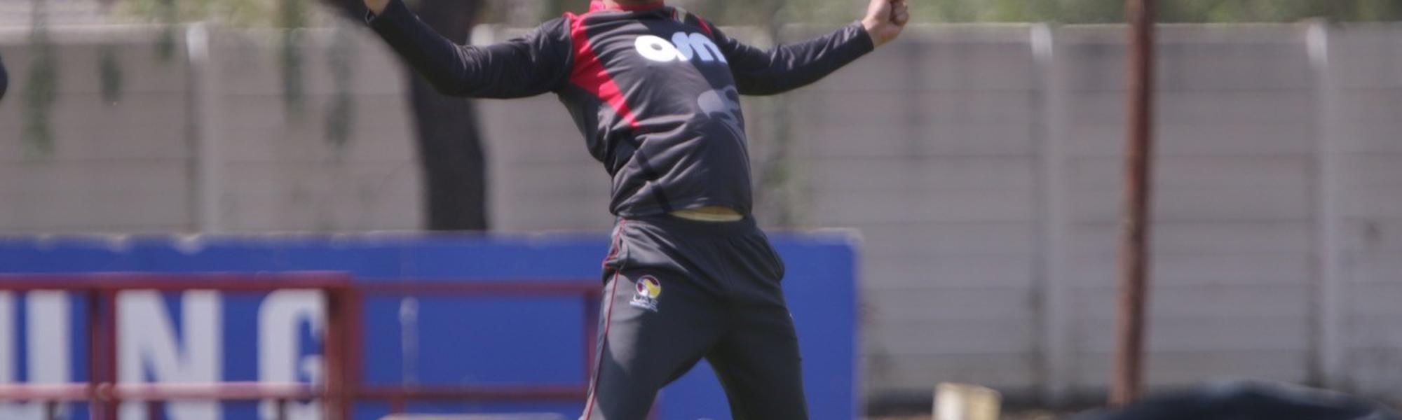 Rohan Mustafa of UAE celebrates a wicket against Namibia.