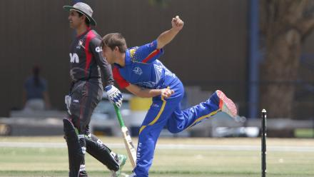 Petrus Burger of Namibia in action against the UAE during its WCL match in Windhoek