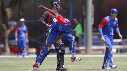 Tangeni Lungameni of Namibia in action against UAE.