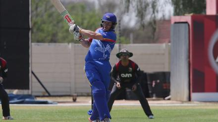 LP van der Westhuizen of Namibia in action against UAE.