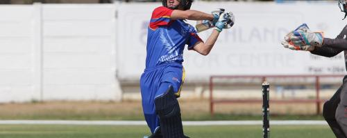 Lohan Louwrens of Namibia in action against UAE.
