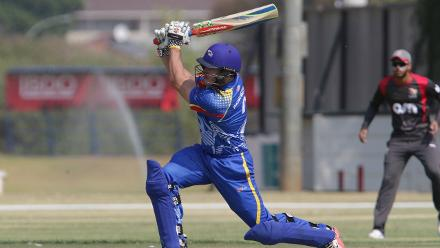 LP van der Westhuizen of Namibia hits a boundary against UAE during its WCLC match in Windhoek