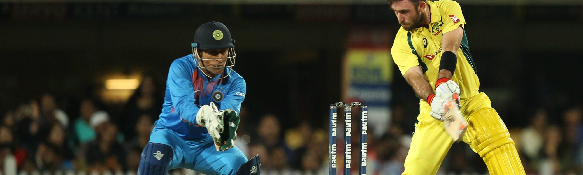 Glenn Maxwell's miserable Indian tour continued with him lobbing a delivery straight to Hardik Pandya off Yuzvendra Chahal.