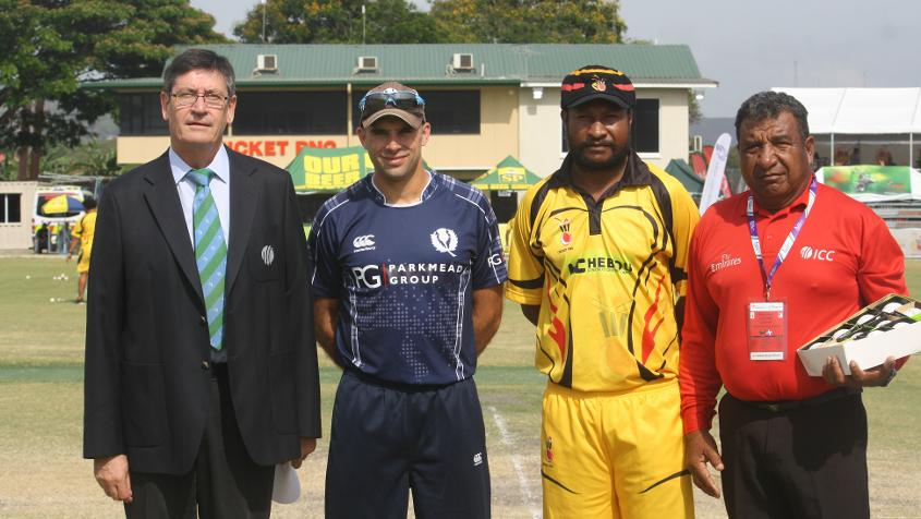 At the toss of the ICC World Cricket League Championship match between PNG and Scotland on 6 October