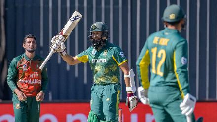 Hashim Amla's century came off 99 balls and remained unbeaten on 110 off 112 balls.