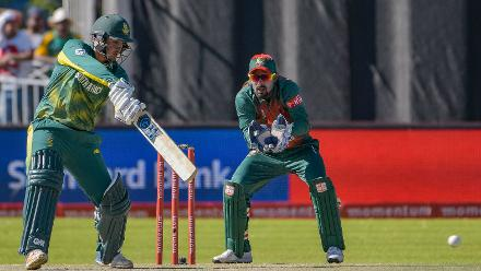 Quinton de Kock was the more prolific scorer between the openers with his century coming in as many balls and remaining unbeaten on a massive 168 off 145 balls with 21 boundaries and two sixes.