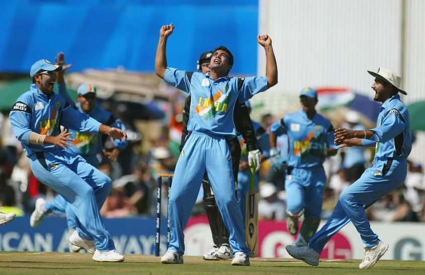 Zaheer Khan celebrates the wicket of Nathan Astle in 2003