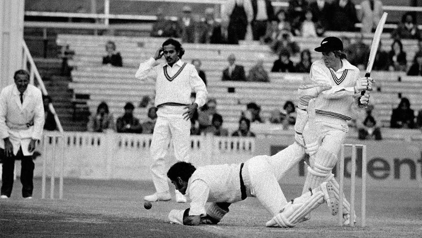 Glenn Turner bats during India and New Zealand's clash at the first Cricket World Cup in 1975