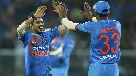 Both Yuzvendra Chahal and Hardik Pandya didn't pick up wickets but were effective with Chahal conceding only eight runs in his spell and Pandya effecting two run-outs.
