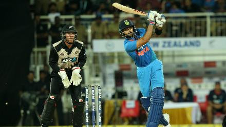 Virat Kohli smacked 13 runs off just 6 balls with one boundary and one six.