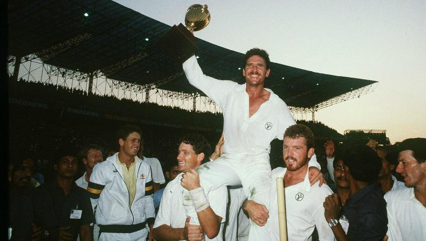 Allan Border became the first Australian captain to lift the trophy.