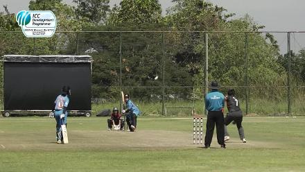 An excellent diving effort at point by the UAE fielder