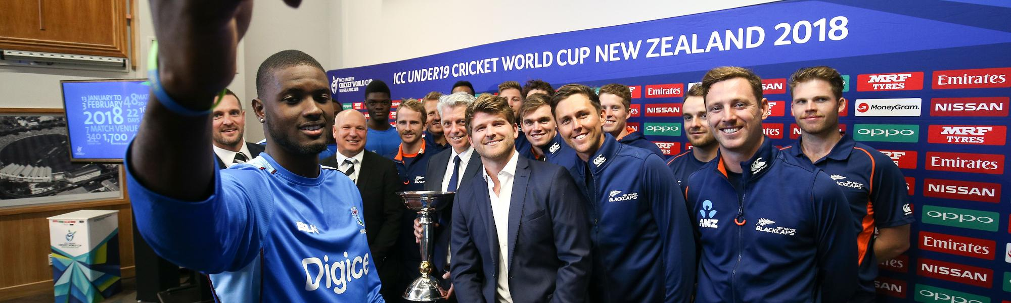 Windies players at launch of the ICC U19 Cricket World Cup 2018 in Wellington.