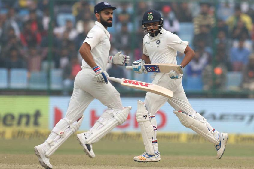 Virat Kohli and Rohit Sharma scored brisk half-centuries as India declared on 246 for 5, setting a 410-run target.