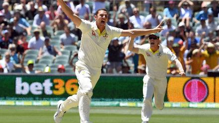 Josh Hazlewood kicked off proceedings for Australia with the quick wickets of overnight batsmen Chris Woakes and Joe Root to give Australia a brilliant start on the fifth day.