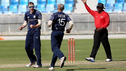 Scotland waltzed to an eight-wicket win against Kenya.