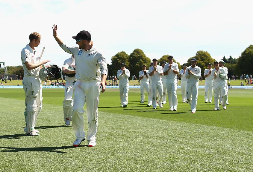 Brendon McCullum bid goodbye to international cricket after slamming the fastest Test hundred at Hagley Park on February 24, 2016.