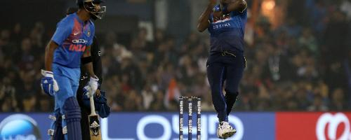 The openers provided a steady start but Angelo Mathews removed Rohit Sharma for 17 to reduce the home side to 38 for 1