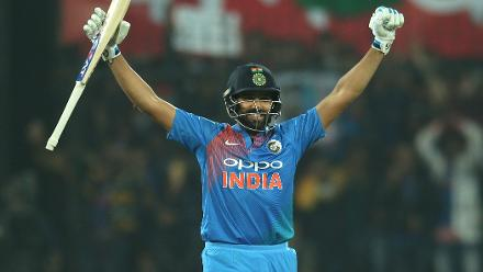 Rohit reached his second T20I century in 35 balls, equalling the record for the fastest hundred in the format.