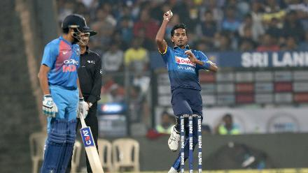Dushmantha Chameera took two for 22 as Sri Lanka managed to restrict India at the start of the chase.