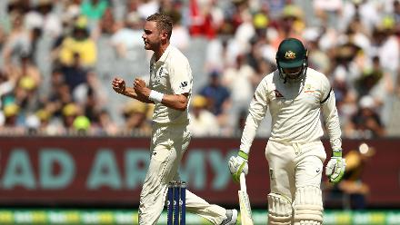 Stuart Broad was finally successful in taking a wicket, that of Usman Khawaja after 414 deliveries.