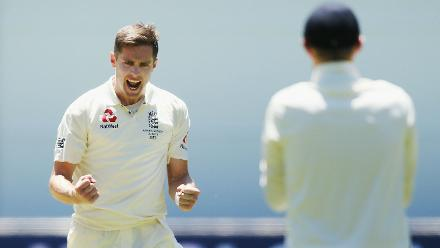 Chris Woakes was successful in dismissing a struggling Cameron Bancroft for 26.