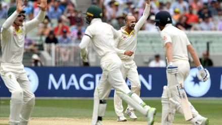Nathan Lyon and Josh Hazlewood too picked up three wickets each but England added 155 runs for six wickets after their captain departed early