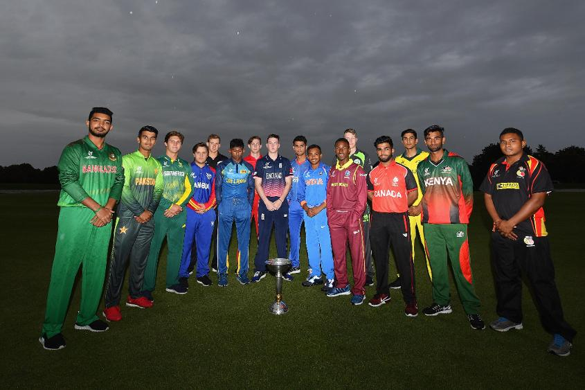 Representatives from all 16 participating teams at the ICC U19 CWC pose for a pre-tournament snap.