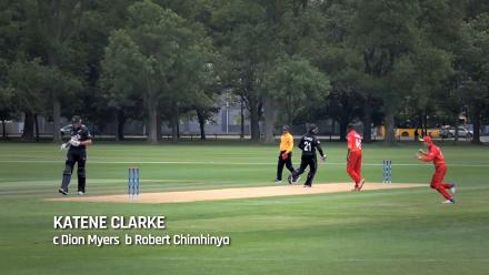 WICKET: New Zealand's Katene Clarke caught off the bowling of Robert Chimhinya