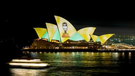 Sydney Opera House gets in on the Ashes celebrations.
