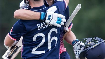Liam Banks of England congratulates Will Jacks of England on scoring a century during the ICC U19 Cricket World Cup Warm Up match between Ireland and England at Hagley Park